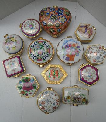 Collection of decorative pill/trinket boxes