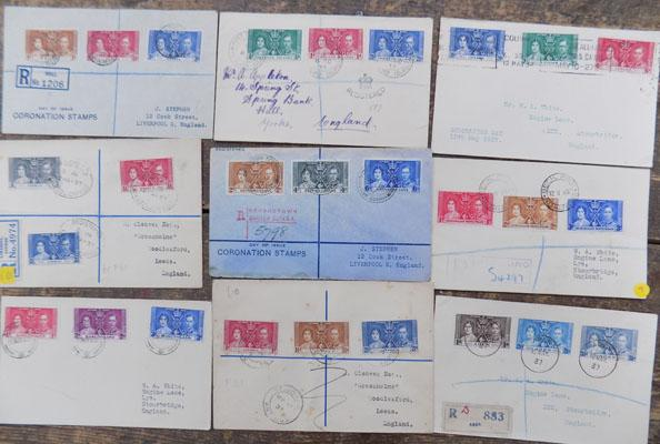 1937 Coronation 9x First day covers
