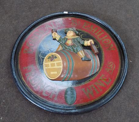 Vintage French wine association plaque