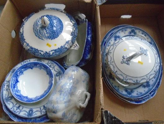 Large selection of blue & white ceramics