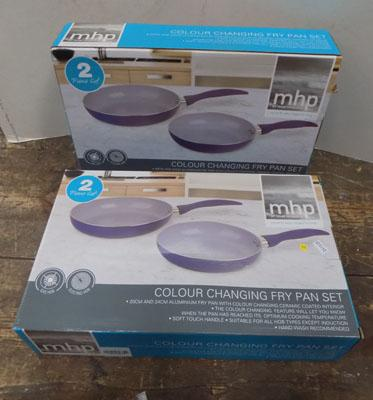 2x Colour camping frying pan sets