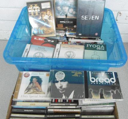 Box of various CD's & DVD's