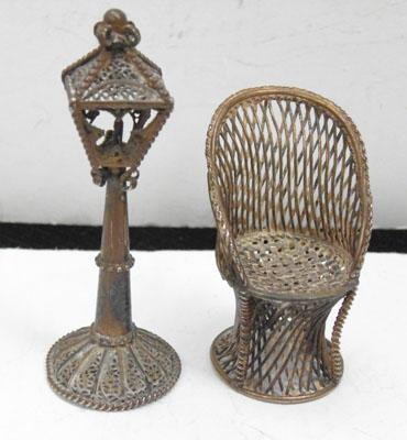 2x Solid silver miniature chair & gas lamp post