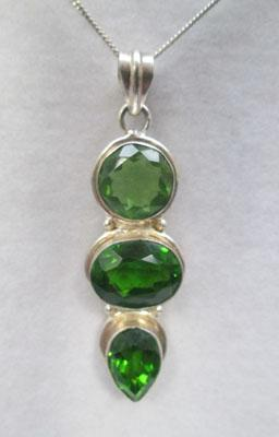 Large silver & Peridot pendant on silver chain