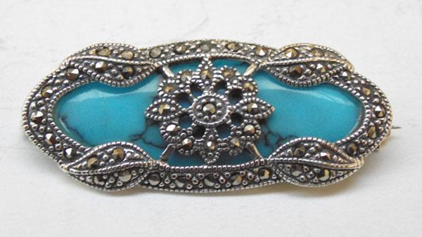 Art Deco Silver and Turquoise and Marcasite brooch