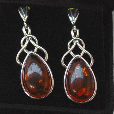 Pair of Celtic Silver and Amber earrings