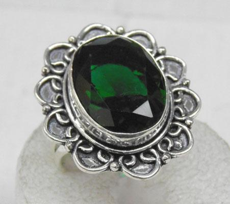 Silver green Torrmaline ring