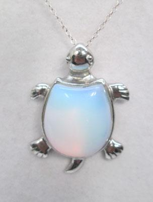 Opalite turtle pendant on silver chain