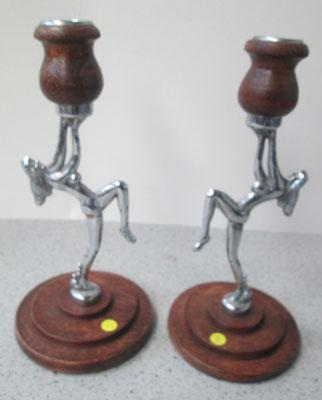 Pair of Art Deco style candle sticks