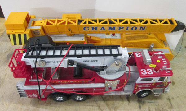 Fire engine and train