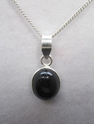 Black star Diopside silver pendant on silver chain