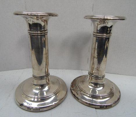 Pair of silver candlesticks Birmingham 1905