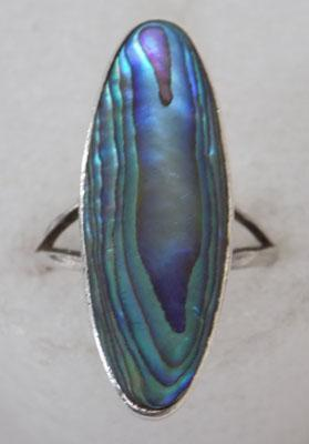 Silver Abalone shell ring