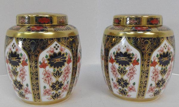 Pair of Royal Crown Derby old Imari ginger jars