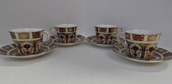 Royal Crown Derby old Imari cups & saucers x4