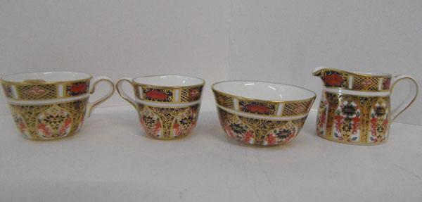 Royal Crown Derby old Imari mini tea cups, sugar bowl & cream jug