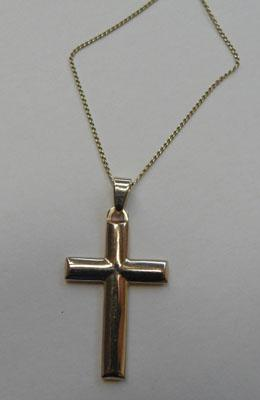 9ct Gold cross on 18ct gold chain
