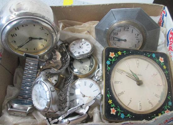 Box of clocks & watches-some silver