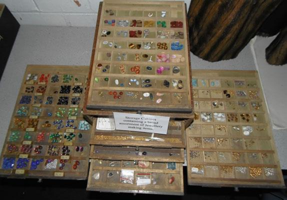 Cabinet of jewellery making items