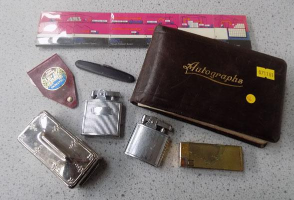 Collection of lighters, matchboxes & autograph book
