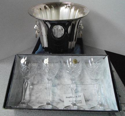 Lead crystal glasses and silver ice bucket