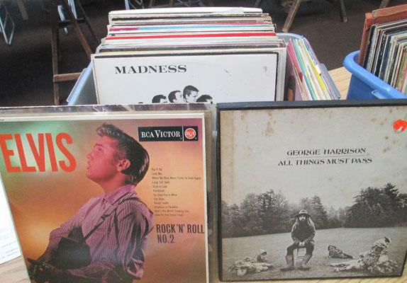Crate of records inc Elvis and rock