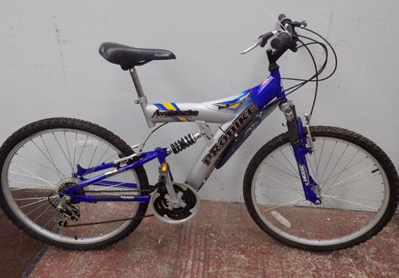 "Probike Avalanche silver/blue bike 26"" full suspension 18 gears"