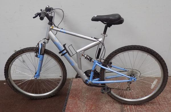 "Apollo FS26 silver/blue bike 26"" full suspension 18 gears"