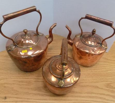 Selection of copper kettles