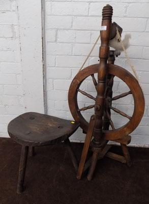 Oak spinning wheel & stool