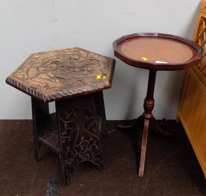Oriental carved table & occasional table