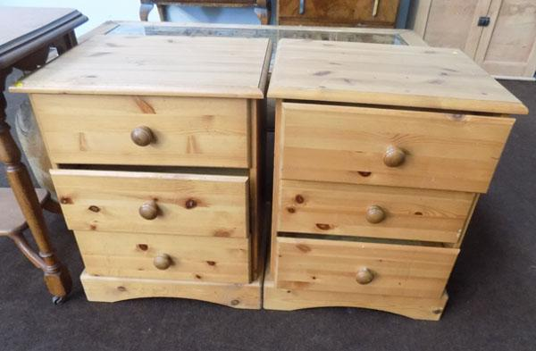 Pair of pine bedside cabinet