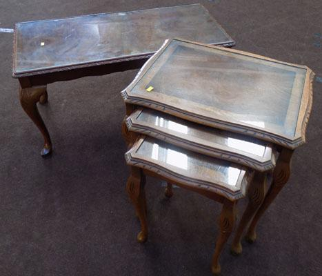 Trio of nesting tables and 1 coffee table