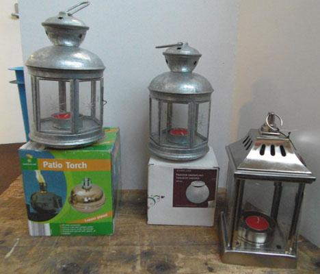 4 candle lamps and oil lamp