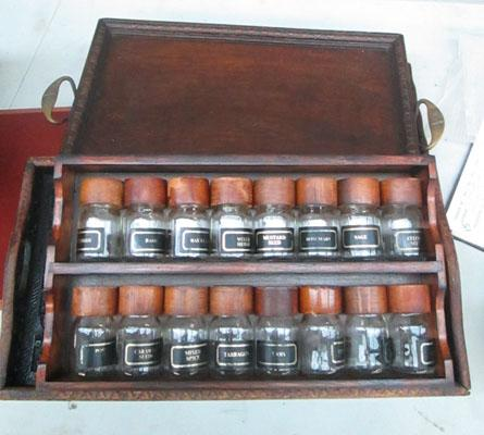3x Antique trays plus large retro spice rack/bottles