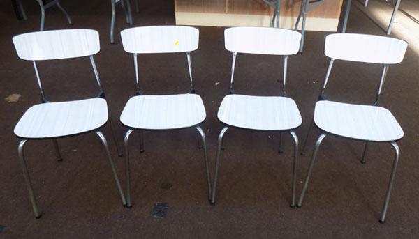 Set of four formica dining chairs