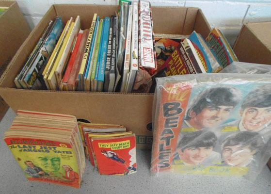 Box childrens books and vintage Detective Library magazines