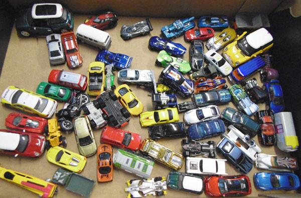 Box of die cast cars
