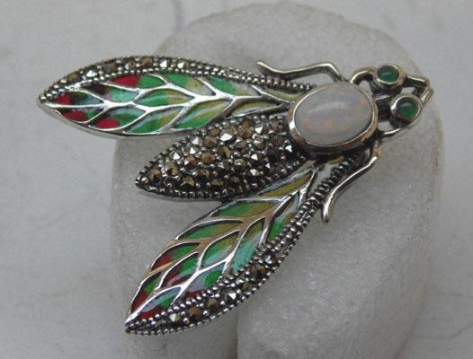 Art Nouveau Silver and Marcasite brooch