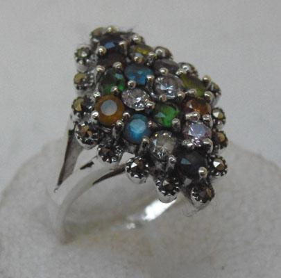 Silver multistone and Marcasite ring