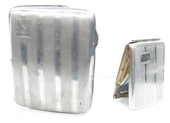 Silver cigarette case and chrome matchbook case