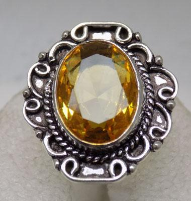 925 Silver yellow Citrine ring
