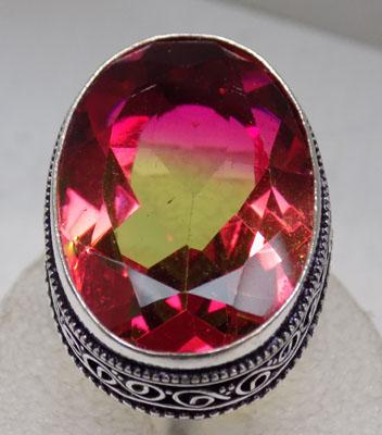 Large bi-colour Tourmaline 925 silver ring