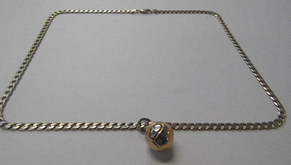 Heavy 9ct gold curb chain & football pendant