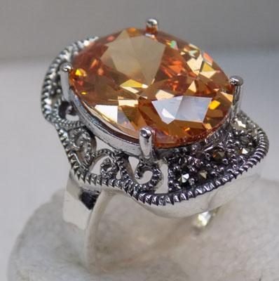 Art Deco silver citrine & marcasite ring