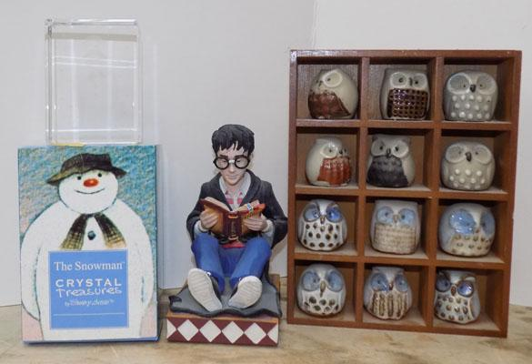 Harry Potter figure & 'The Snowman' crystal & Owl collection