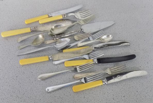 Selection of cutlery-some plated & some silver