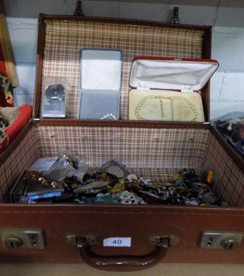 Leather suitcase with costume jewellery/Jubilee Crown/watches/frames