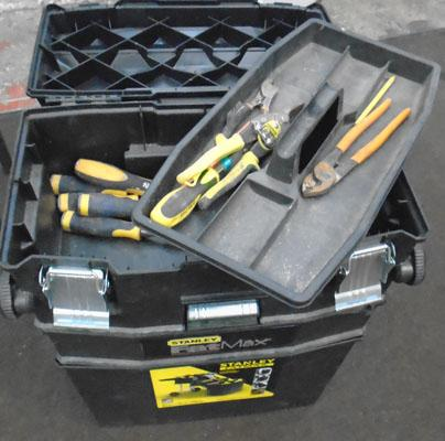 Large trolley tool box & contents