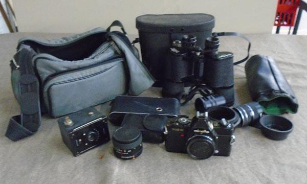 Selection of photography equipment & binoculars